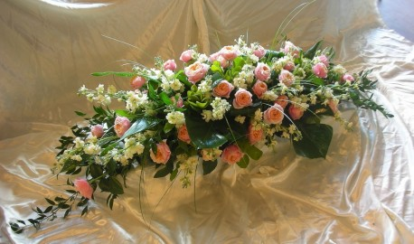 Coffin spray (roses and stocks)