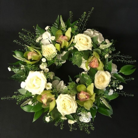 Luxury rose and orchid wreath