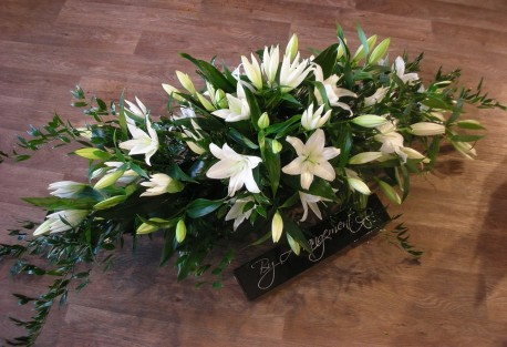 Casket spray in white lily